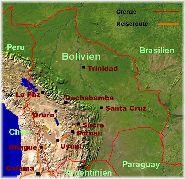 Satelliten -Foto Bolivien - unsere Reiseroute