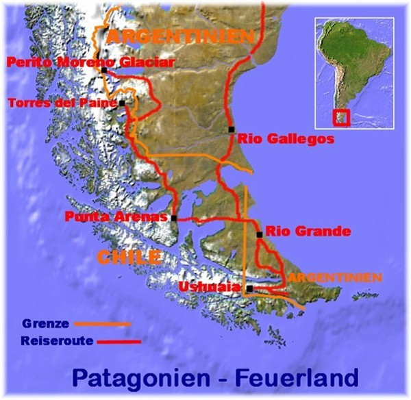 Chile Patagonien Karte.Argentinien Chile Feuerland Torres Del Paine Perito